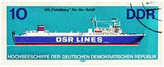 "Ro-Ro ship ""Fichtelberg"" on postage stamp Stock Photos"