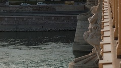Margit Bridge and Danube River in central Budapest, Hungary. Historical sculpure Stock Footage