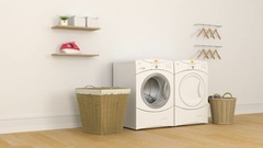 Interior of a laundry room in a  home Stock Footage