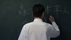 MS Man writing Chinese characters on blackboard, turning to look at camera Stock Footage