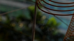CU PAN Incense coils outside temple / Singapore Stock Footage