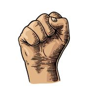 Human hand with a clenched fist. Vector black vintage engraved illustration Stock Illustration
