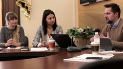 Meeting the Director of the Company with its Employees Stock Footage