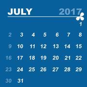 Simple calendar template of july 2017 Stock Illustration