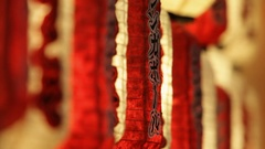 CU DF Chinese lanterns hanging as decoration at night / Singapore Stock Footage