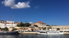 National Museum of Ancient Art of Lisbon View From Tagus River Stock Footage