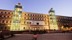 Sunset timelapse of the front facade of the Museo Reina Sofia, in Madrid, Spain. Stock Footage