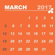 Simple calendar template of march 2017 Stock Illustration