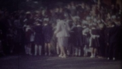 RIGA, LATVIA - SEPTEMBER 1, 1986: Pupils on schoolyard, children go to school Stock Footage