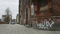 Unsafe empty neighborhood of harbor district Stock Footage
