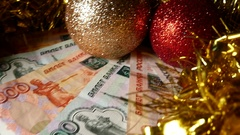 Christmas Balls And Banknotes Five Thousand Rubles. Happy New Year Background. S Stock Footage