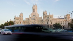 4k timelapse of traffic at dusk in the Plaza de Cibeles. Stock Footage