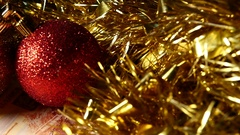 Christmas Balls And Banknotes Five Thousand Rubles. Happy New Year Background. Stock Footage