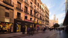 4K hyperlapse of people walking and shopping in Preciados street, in Madrid. Stock Footage