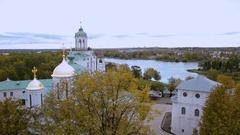 Aerial view Yaroslavl Museum reserve Stock Footage