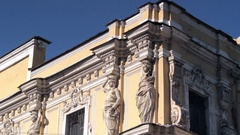 Antique Sculptures Of Women on the Top on Building's Facade. Cultural Heritage Stock Footage