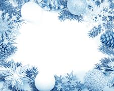 Christmas frame in blue tones for greeting card Stock Photos