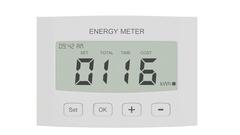LCD display of digital power meter showing voltage Stock Footage