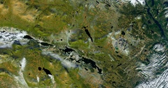 High-altitude overflight aerial of Kiruna, Sweden and its iron ore mine. Stock Footage
