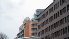 Communication satellite dishes on building, Potsdamer Platz, Berlin, Germany Stock Footage