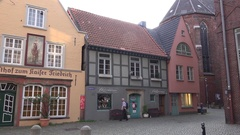 4k Antique architecture and buildings in city Bremen famous streets area Schnoor Stock Footage