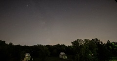 Beautiful Star Trails Night Sky near the Highway. Stock Footage