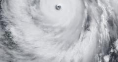 High-altitude overflight aerial of Super Typhoon Jangmi, 2008 Stock Footage