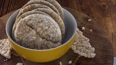 Rice Cakes (seamless loopable; 4K footage) Stock Footage