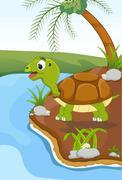 Cartoon turtle at river Stock Illustration