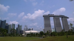 WS Financial district and Marina Bay Sands / Singapore Stock Footage