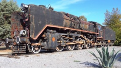 Old steam locomotive and aloe Stock Footage