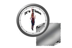Clock with lettering Its Time. Stock Photos