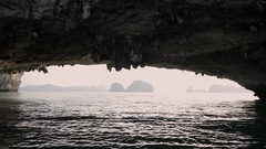 MS View of natural rock arch in Ha Long Bay / Vietnam Stock Footage