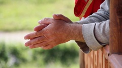 Close the frame. Hands. National Costume. Russian Siberia. Stock Footage