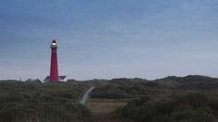 Lighthouse at the island of Schiermonnikoog Stock Footage