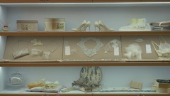 The wedding accessories in the wedding boutique Stock Footage