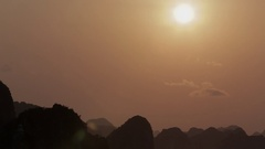 WS TU Sunset in Ha Long Bay / Vietnam Stock Footage