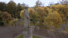 Aerial shot monument to Ivan Susanin in Kostroma Russia Stock Footage