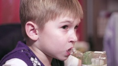 Child boy with inhaler Stock Footage
