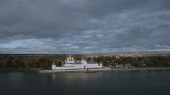 Aerial shot Ipatiev monastery and river in Kostroma Stock Footage