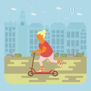Senior woman cycling Stock Illustration