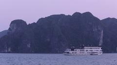 WS Passenger ship in Ha Long Bay / Vietnam Stock Footage