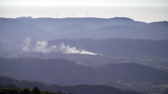 Distant view over the mountains in the North of Spain. Stock Footage