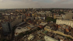 Bristol city shopping centre and sky scraper aerial filming Stock Footage
