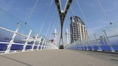 Footbridge to The Lowry at Salford Quays, Manchester, Lancashire, England, UK, Stock Footage