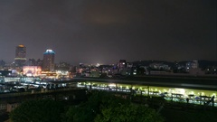 Skyline of Hsinchu at night, time lapse Stock Footage