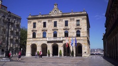 Ancient town hall in the city center of a Spanish village Stock Footage