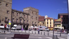 View on the city center of an ancient Spanish town Stock Footage