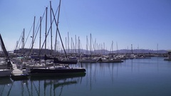 Sunny weather in the harbour with fishing boats and leisure yachts Stock Footage
