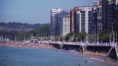 View on the boulevard, see, beach and cityscape of a Spanish town Stock Footage